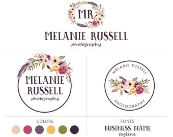 Flower logo photography logo premade logo package watercolor logo initials logo floral logo branding package marketing kit