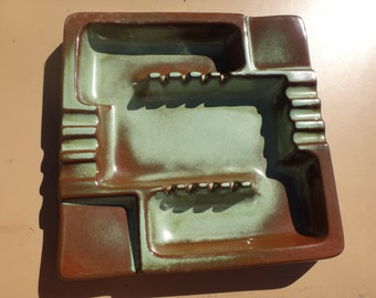 Vintage Frankoma Pottery Prairie Green  Square Ashtray/ Frankoma 464/ GREAT Condition Frankoma Ashtray with match and cigarette pack holder