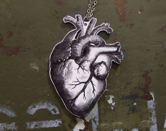 Anatomical heart tattoo necklace / Hand drawn medical pendant