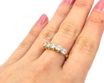 Rare Gerard 0.75ct G-SI/VS Diamond 5 Stone 18K Gold Ring Size 6.75