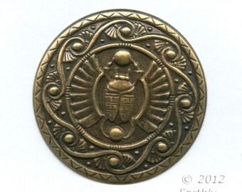 Oxidized brass Egyptian Revival style pendant. 45mm diameter. 1 pc. B9-2221(e) RESERVED