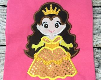 Cute Princess Belle Applique Design dst, exp, hus, jef, pes, sew, vip, vp3, Formats Digital INSTANT DOWNLOAD