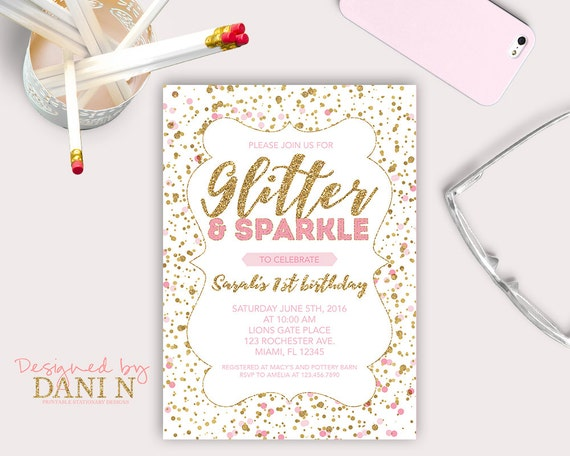 Glitter and sparkle birthday party invitation pink polka dots il570xn filmwisefo