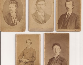 Small Cabinet Card Photos, Set of Five Photographs, Vintage Photographs, Sepia Colored Portraits, Men and Women, Haunting, Odd Photos