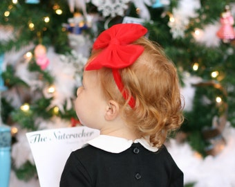 Big Red Bow Headband - Red Baby Bow Headband - Big Red Hair Bow - Christmas Bow Toddler Headband - Big Red Bow - Baby Christmas Hair Bow