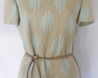 Vintage 1960's Mod Tunic Top Belted Waist optional tan & blue misses  S - M