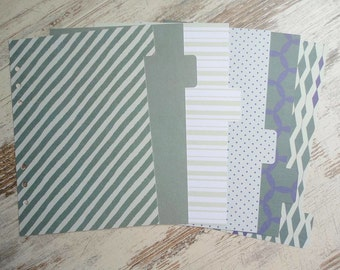 "A5 Dividers ""Lovely Green"""