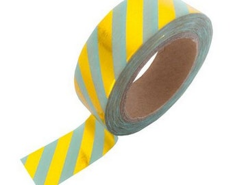 Washi tape mint gold foil stripe