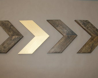Set of 4 Small Wood Chevron Arrows. Wood Arrow Wall Art. Chevron Home Decor. Modern Wood Chevron Arrows. Rustic Wood Chevron Arrows