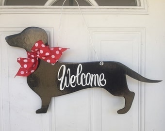 Dachshund Door Hanger, Dog Door Hanger, Dog Door Decoration, Dachshund, Welcome Sign, Weenie Dog Hanger, Dachshund Gift, Dachshund Art