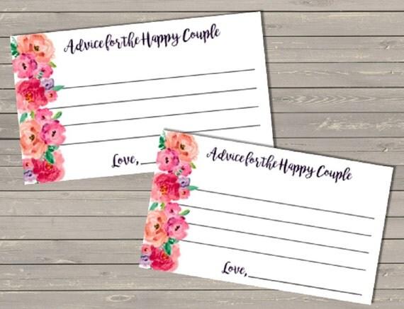 Bridal Shower Couple's Advice Cards Digital File