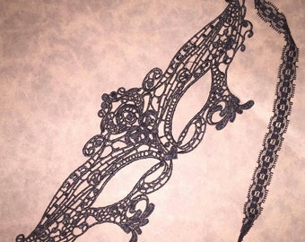 Halloween Mask, Embroidered Lace Mask, Party Mask, Masquerade Mask,