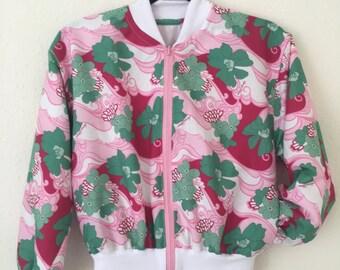 Vintage Pink Print Handmade Bomber Jacket • Cropped • S-M • 50's/60's Fabric • Retro