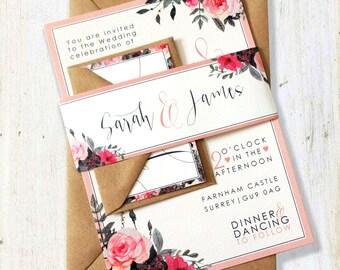 Rose Floral Wedding Invitation Set - SAMPLE