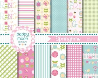 Spring time, pastels, digital paper pack