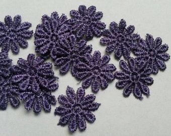 50 Pieces 9 Colors PURPLE Blue Green Pink Red Gold Yellow White Fower Applique Flower Patch Sew On