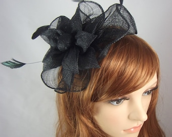 Black Sinamay Corsage & Ruffle Fascinator - Occasion Wedding Races Funeral
