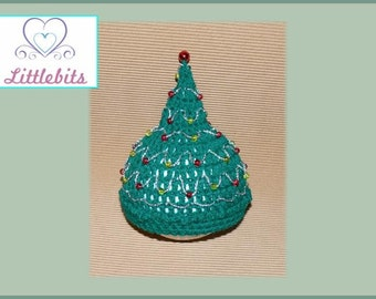 Littlebits Newborn Baby Crocheted Green n Silver Thread with Red/Green Crackle Glass Beads Christmas Tree Beanie -  Handcrafted in Australia
