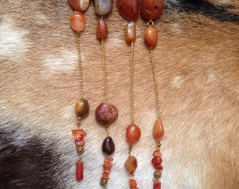 Long Orange Agate and Stone Necklace