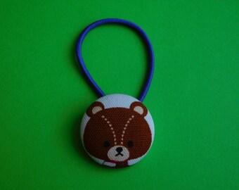 Teddy Bear - Fabric Button Hair Tie
