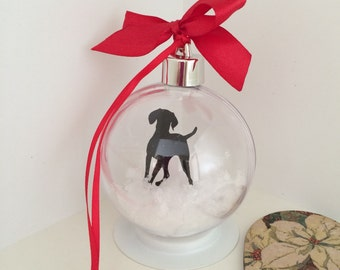 Vizsla Dog Silhouette in Snow Acrylic Bauble can be Personalised