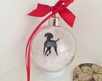 Vizsla Silhouette in Snow Pet Bauble