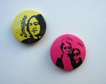 2 vintage The Beatles buttons John Lennon, 1980s