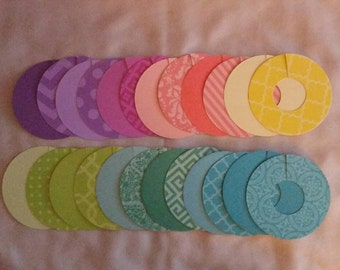 Round Paper Wine Glass Markers, Wine Charms, Print and solid bright colors, House Warming, gift, disposable