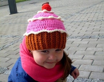 Pink cupcake hat - Toddler girl cupcake hat - Toddler girl cupcake beanie - Baby girl cupcake hat - Toddler girl pink spring beanie