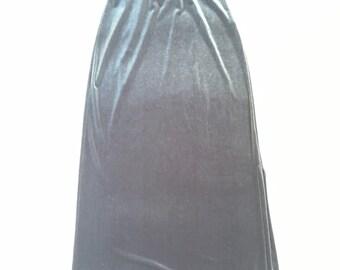 90s Silver Velvet Maxi Skirt