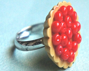 cherry tart ring- miniature food jewelry, food ring,fruit ring