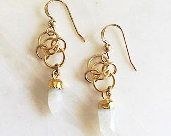 Moonstone and gold earrings, moonstone, moonstone earrings, gift idea