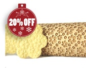 Embossing rolling pin - Meadow full of flowers, Cookies decorating roller, Laser engraved rolling pin
