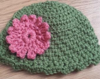 Newborn Crochet Flower Hat