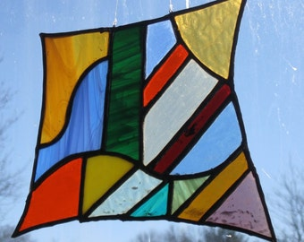 Stained Glass Multi-colored Abstract Sun Catcher