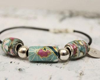 Pandora style bead bracelet-Paper beads and Sterling Silver bracelet-Leather Pandora style bead bracelet-Gift for her