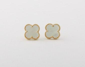 Handmade White mother of pearl four leaf clover 12mm earrings