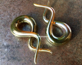 """Real Silver/Gold Color Glass Double Twist Spirals 10g 8g 6g 4g 2g 0g 00g 7/16"""" 1/2"""" 9/16"""" 5/8""""  2.5 mm 3 mm 4 mm 5 mm 6 mm 8 mm - 16 mm"""