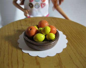 Rustic Bowl of Fresh Citrus Oranges and Lemons for 1:6 Scale Fashion Dolls like Barbie