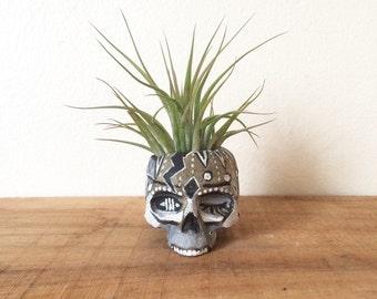 Hand painted concrete mini skull