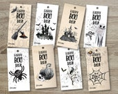 Printable Halloween Favor Tags, Kids Halloween Party Favor Tags, Treat Bag Tag diy, Halloween Party Decoration diy, set of 8 Halloween tags