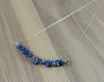 Lapis chip bead sterling silver necklace
