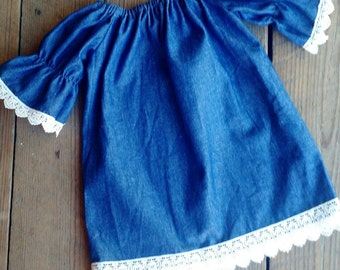 Denim and Lace peasant dress... Lovely