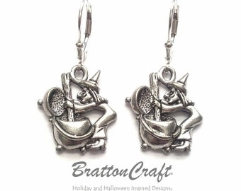 Witch Stirring Cauldron Earrings - Silver Witch Earrings  - Witches Brew Earrings - Fun Halloween Earrings - Cauldron Earrings