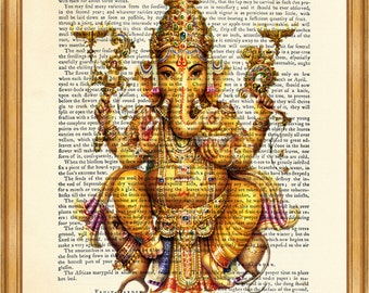 Ganesha Portrait DICTIONARY ART PRINT on Vintage Dictionary Page 8'' x 10'' from Antique Book