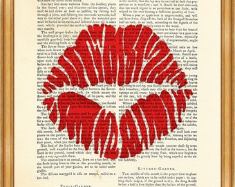 Kiss, Lips, Love DICTIONARY ART PRINT on Vintage Dictionary Page 8'' x 10'' from up-cycled book