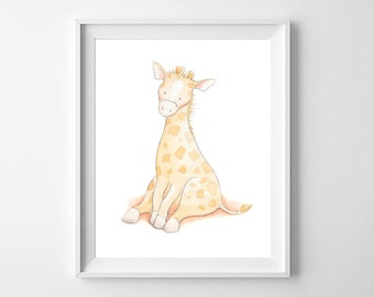 Giraffe Nursery Wall Art,Giraffe Nursery Print,Giraffe Nursery Decor,Giraffe Kids Art,Giraffe baby Art,Cute Giraffe,Giraffe children's Art