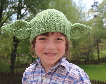 ANY SIZE Yoda Inspired Hat - Star Wars - Halloween Costume - Photo Prop - Sci-Fi Beanie - Green Winter Hat - Baby/Toddler/Child/Adult Sizes