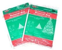 PRICE REDUCED! Vintage Christmas Tree Removal Bag and Christmas Tree Skirt, 2 unopened packs, Plastic Vinyl Trash Bags, Holiday Decor