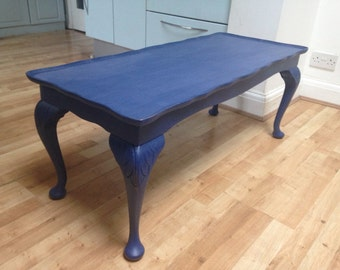 Upcycled Hand Painted Distressed Navy Blue Coffee Table